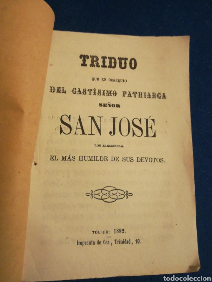 TRIDUO DEL CASTISIMO PATRIARCA SAN JOSÉ 1882 IMPRENTA DE CEA TOLEDO (Coleccionismo - Documentos - Otros documentos)