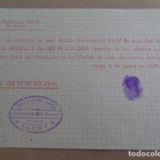 Documentos antiguos: ALCOY. ALICANTE. GUERRA CIVIL. INDUSTRIA DEL PAPEL, CNT UGT. LOTE 2 RECIBOS. 1937. . Lote 195443860
