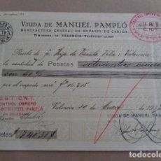 Documentos antiguos: VALENCIA. VDA. DE MANUEL PAMPLÓ. RECIBÍ 1937. GUERRA CIVIL. CONTROL OBRERO CNT UGT. DOS TAMPONES. Lote 195443983