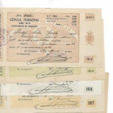 Documentos antiguos: TARRAGONA - 6 - CEDULAS PERSONALES - AÑOS 1913......VER FOTOS DIFERENTES AÑOS Y ESTADO PERFECTO. Lote 195456785