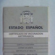 Documentos antiguos: ESTADO ESPAÑOL: CERTIFICADO VACUNACION ANTIRRABICA PERRO. JEREZ DE LA FRONTERA, 1988. CON PLAQUITA. Lote 195458316