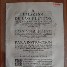 Documentos antiguos: 1701 RELACIÓN DE PLEYTOS DE RESIDENTES DE LA PARROQUIAL IGLESIA DE MATARÓ.... Lote 195464257