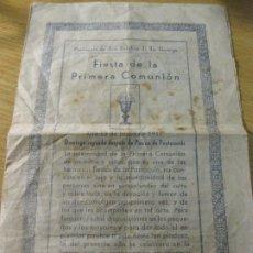 Documentos antiguos: ANTIGUO FOLLETO PARROQUIA SANT ESTEBAN LA GARRIGA FIESTA 1 COMUNION . DIPTICO AÑOS 30?. Lote 195473681