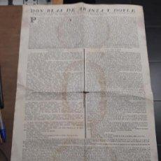 Documentos antiguos: 3631.-BANDO EDICTO CON ESCUDO DE ARMAS DON BLAS DE ARANZA Y DOYLE- SOBRE IMPUESTOS IGLESIA. Lote 195485493