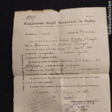 Documentos antiguos: DOCUMENTACION DE EXTRANGERIA, ITALIA. SELLOS DE 1936 Y 1937.. Lote 195495295