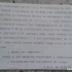 Documentos antiguos: PASQUIN DE CNT DE EUSKADI CONTRALAS CARCELES Y EN SOLIDARIDAD CON LOS PRESOS EN LUCHA. Lote 195523571