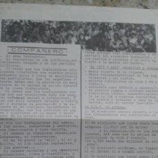 Documentos antiguos: PANFLETO DE PRESENTACION E INVITACION A ORGANIZARSE EN LA CNT DE EUSKADI. Lote 195523656