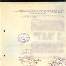 Documentos antiguos: NUMULITE A30134 ACTA CONSTITUCION COMITÉ FRENTE LLANSÀ LLANÇÀ CNT ARARQUISMO REPUBLICÀ SINDICATO. Lote 195529478