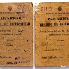 Documentos antiguos: LOTE 2 CARTILLAS CAJA NACIONAL DE SEGURO DE ENFERMEDAD AÑOS 40 CUÑOS MUTUALIDAD DE LEVANTE, ALCOY. Lote 195759361