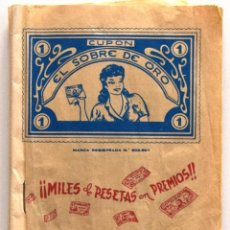 Documentos antiguos: ALCOY (ALICANTE) CARTILLA CUPÓN EL SOBRE DE ORO - JOSÉ TORMO - AÑOS 50 - COMPLETA LLENA DE CUPONES. Lote 195760562