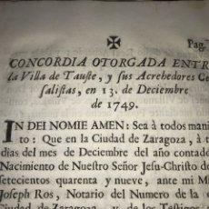 Documentos antiguos: 1749. CONCORDIA ENTRE LA VILLA DE TAUSTE Y SUS ACREHEDORES CENSALISTAS.. Lote 195980430