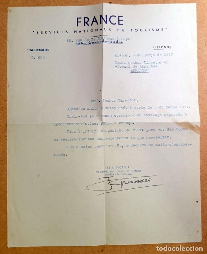 Documentos antiguos: FRANCE - SERVICES NATIONAUX DU TOURISME - CARTA AL DIRECTOR DEL JORNAL DE ABRANTES - 1944 - Foto 1 - 196053965