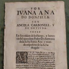 Documentos antiguos: 1662. DOCUMENTO SOBRE LA SUCESIÓN DE BIENES Y HERENCIA DE PEDRO DÓ. GASPAR IORNET. . Lote 196155798