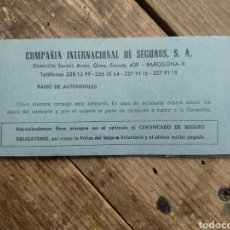 Documentos antiguos: CHEQUERA COMPAÑÍA INTERNACIONAL DE SEGUROS. COMPLETA. Lote 196295111