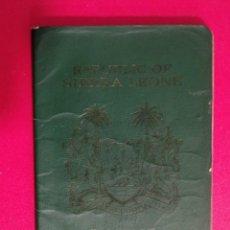 Documentos antiguos: PASAPORTE DE SIERRA LEONA 1988, PASSPORT, PASSEPORT,REISEPASS. Lote 196388055
