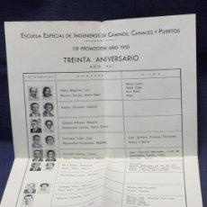 Documentos antiguos: ESCUELA ESPECIAL INGENIEROS CAMINOS CANALES PUERTOS 118 PROMOCION AÑO 1930 1961 30 ANIVERSARIO . Lote 196477948