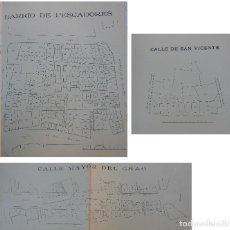 Documentos antiguos: PLANO CALLE MAYOR DEL GRAO, CALLE DE SAN VICENTE Y BARRIO DE PESCADORES. VALENCIA. 1905. Lote 196764331