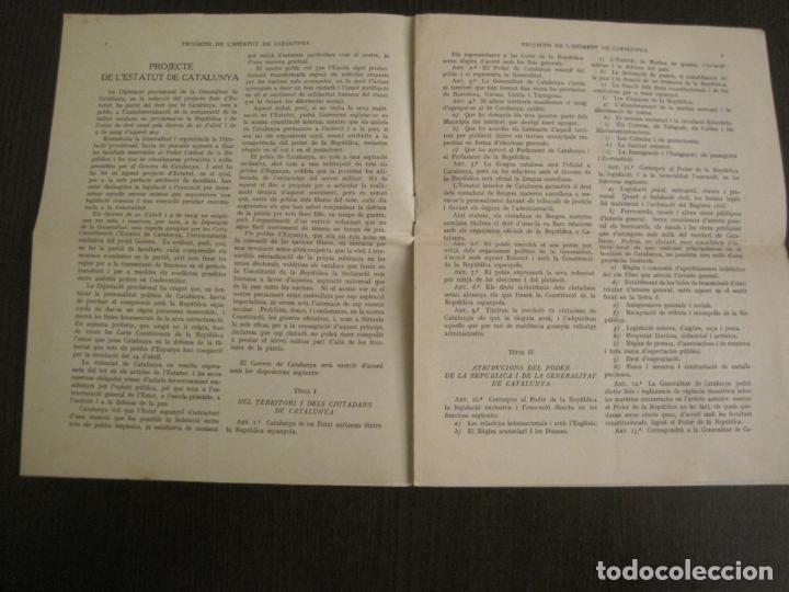 Documentos antiguos: PROJECTE DE LESTATUT DE CATALUNYA-DOCUMENT ANTIC-VER FOTOS-(V-19.395) - Foto 2 - 196805078