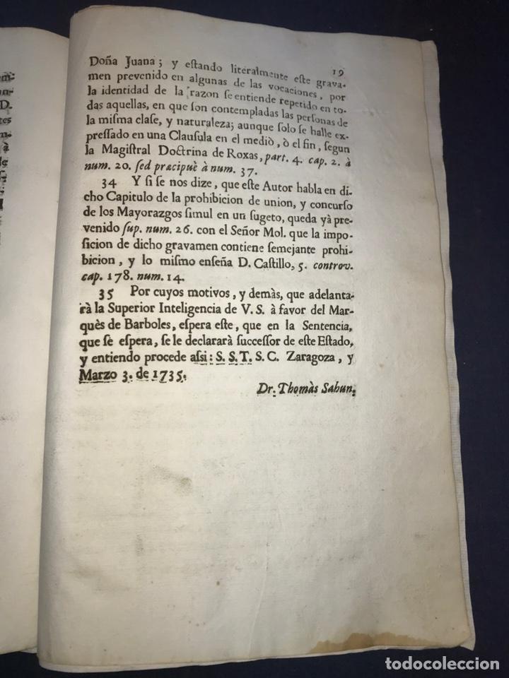 Documentos antiguos: 1735. HUESCA. CASTELFLORITE Y BARONÍA DE ANTILLÓN. MARQUÉS DE BARBOLES. - Foto 6 - 196915515