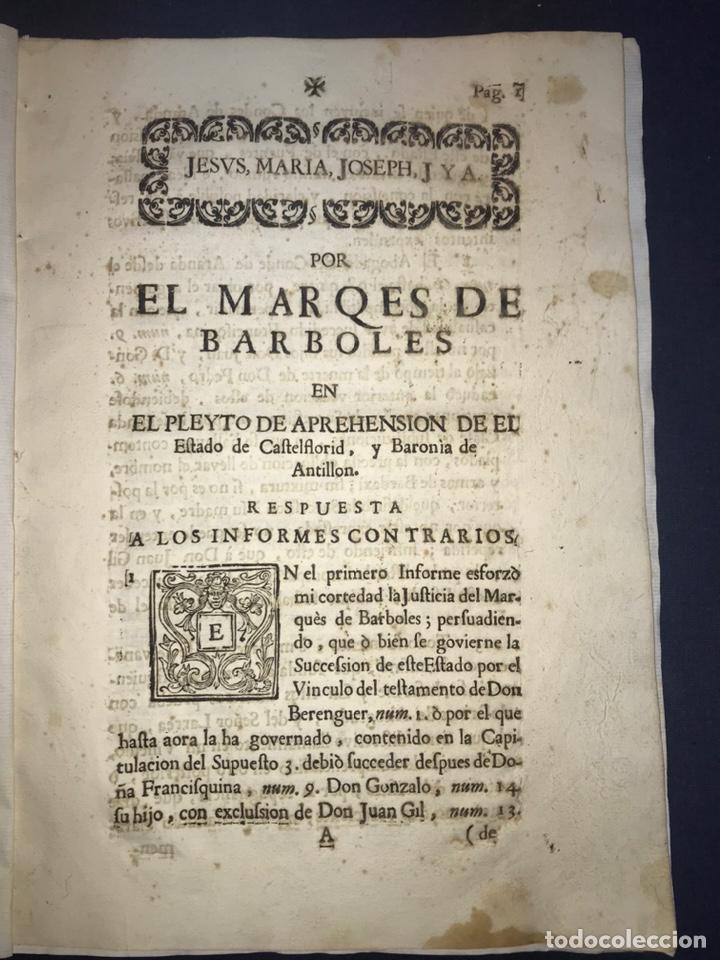 1735. HUESCA. CASTELFLORITE Y BARONÍA DE ANTILLÓN. MARQUÉS DE BARBOLES. (Coleccionismo - Documentos - Otros documentos)
