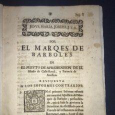 Documentos antiguos: 1735. HUESCA. CASTELFLORITE Y BARONÍA DE ANTILLÓN. MARQUÉS DE BARBOLES.. Lote 196915515
