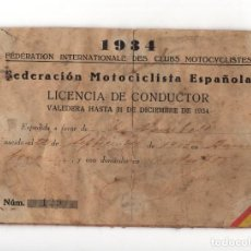Documents Anciens: LICENCIA MOTOCICLISMO. CONDUCTOR. 1934. REPÚBLICA ESPAÑOLA. FEDERACIÓN ESPAÑOLA MOTOCICLISMO.. Lote 197024048