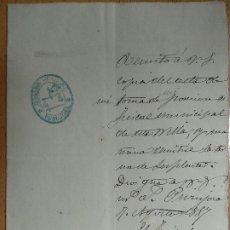 Documentos antiguos: DOCUMENTO DEL FISCAL DE PUJOROSA AL FISCAL DE BORJA ZARAGOZA, DEL TOMA DE POSESIÓN, SELLOS AÑO 1887.. Lote 197051010