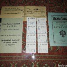Documentos antiguos: ESTATUTOS Y REGLAMENTO DE EDUCACIÓN FALANGE AÑOS 40. BADAJOZ Y OLIVENZA.. Lote 197112981