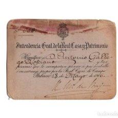 Documentos antiguos: MADRID.- PERMISO CRCULAR CARRUAJES. INTENDENCIA GRAL. REAL CASA Y PATRIMONIO, PALACIO 1917.. Lote 197142353