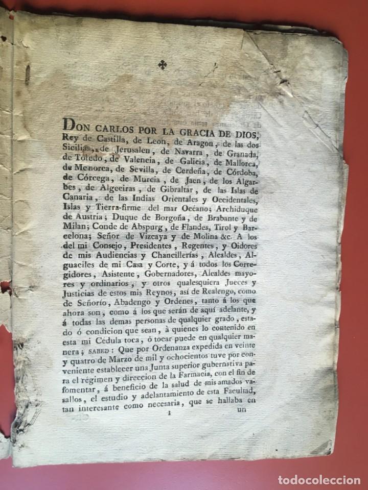Documentos antiguos: REAL CEDULA DE S.M. ORDENANZAS FARMACIA - 1804 - - Foto 6 - 197183075