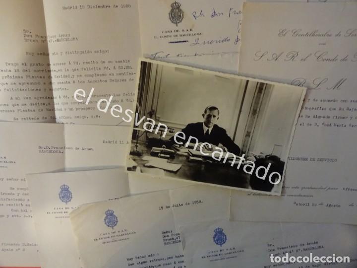 JUAN DE BORBON. CONDE DE BARCELONA. ESTORIL. CORRESPONDENCIA SECRETARIO GENERAL. AÑOS 1950-60 (Coleccionismo - Documentos - Otros documentos)
