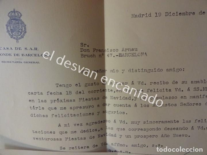 Documentos antiguos: JUAN DE BORBON. Conde de Barcelona. Estoril. Correspondencia Secretario General. Años 1950-60 - Foto 3 - 197318887