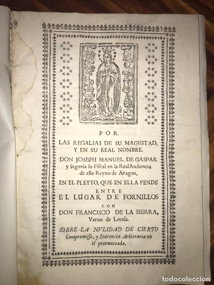 Documentos antiguos: HUESCA. FORNILLOS, ILCHE. PLEITO FORNILLOS Y VARON DE LETOSA. NULIDAD Y SENTENCIA. - Foto 2 - 197328445