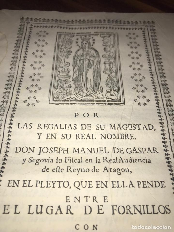 HUESCA. FORNILLOS, ILCHE. PLEITO FORNILLOS Y VARON DE LETOSA. NULIDAD Y SENTENCIA. (Coleccionismo - Documentos - Otros documentos)