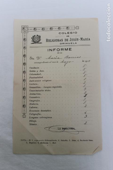 COLEGIO RELIGIOSAS DE JESUS MARIA, ORIHUELA, INFORME DE ALUMNA 1918 (Coleccionismo - Documentos - Otros documentos)