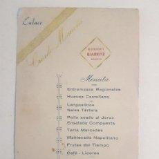 Documentos antiguos: RESTAURANTE BIARRITZ MADRID MENU 1947. Lote 197423468