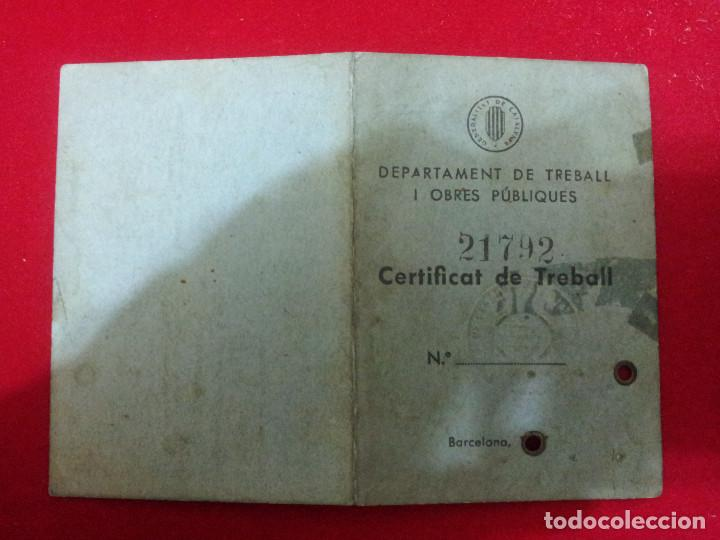 DV-6.- CERTIFICAT DE TREBALL , DEPARTAMENT DE TREBALL I OBRES PUBLIQUES .- GENERALITAT .- 1938 (Coleccionismo - Documentos - Otros documentos)
