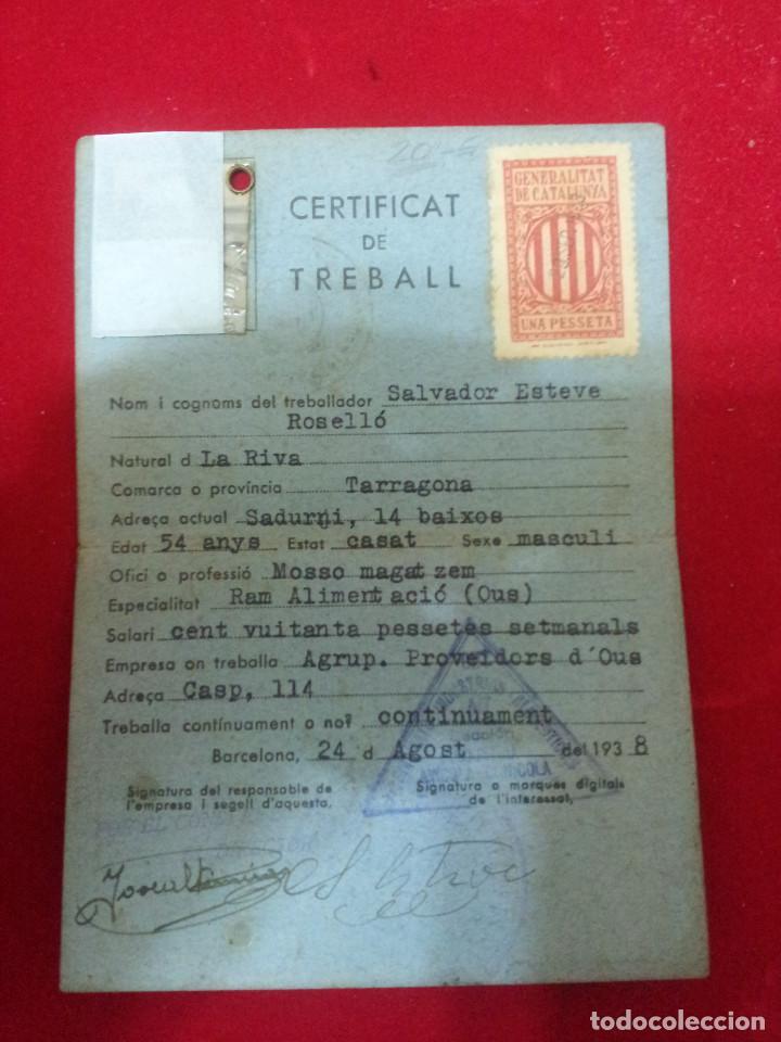 Documentos antiguos: DV-6.- CERTIFICAT DE TREBALL , DEPARTAMENT DE TREBALL I OBRES PUBLIQUES .- GENERALITAT .- 1938 - Foto 2 - 197616218