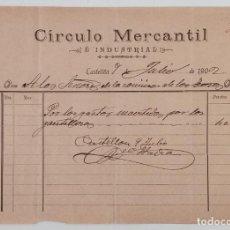 Documentos antiguos: FACTURA CIRCULO MERCANTIL E INDUSTRIAL. A LA COMISIÓN DE LOS TOROS. CASTELLÓN 1902. W. Lote 197622062