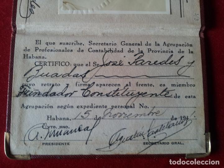 Documentos antiguos: DV-30.- CARNET- ADSCRIPTA A LA CONFEDERACION DE PROFESIONALES NO UNIVERSITARIOS DE CUBA , 1941 - Foto 3 - 197654536