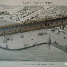 Documentos antiguos: LITOGRAFIA ILUSTRACION VINTAGE MALAGA PUERTO MAR MEDITERRANEO BARCO FARO 1880 ANDALUCIA MALAGUEÑO. Lote 197719101