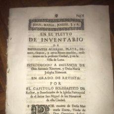 Documentos antiguos: 1743. VILLA DE LUNA (ZARAGOZA). INVENTARIO DE ALHAJAS, PLATA, DINEROS... Lote 197748372