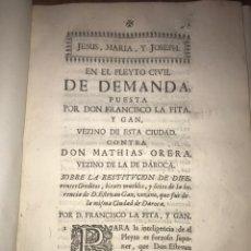 Documentos antiguos: 1742. DAROCA. PLEITO CON MATHIAS ORERA DE DAROCA SOBRE BIENES DE E. GAN VECINO QUE FUE DE DAROCA.. Lote 197751656