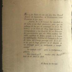Documentos antiguos: BARON DE SERRAHÍ - BARCELONA - 26 DE ABRIL 1806. . Lote 197888135