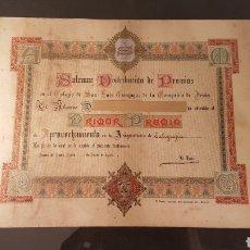 Documentos antiguos: SOLEMNE DISTRIBUCIÓN DE PREMIOS COLEGIO SAN LUIS GONZAGA DE LA COMPAÑIA DE JESÚS. AÑO 1906.. Lote 197903561