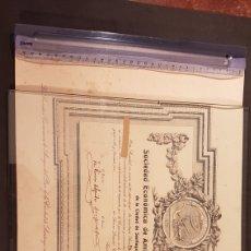 Documentos antiguos: ANTIGUO TITULO DE SOCIO DE SOCIEDAD ECONÓMICA DE AMIGOS DEL PAIS DE LA CIUDAD DE SANTIAGO. AÑO 1923. Lote 197914086