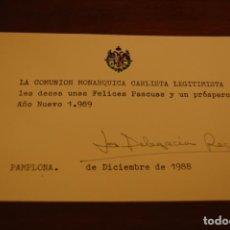 Documentos antiguos: FELICITACIÓN DE LA COMUNIÓN MONÁRQUICA CARLISTA LEGITIMISTA. PAMPLONA 1988. (CARLISMO, REQUETÉ). Lote 197963538