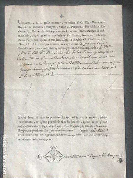 MANUSCRITO DEFUNCIÓN , SANTA MARÍA DEL MAR BARCELONA 1807. FIRMA. (Coleccionismo - Documentos - Otros documentos)