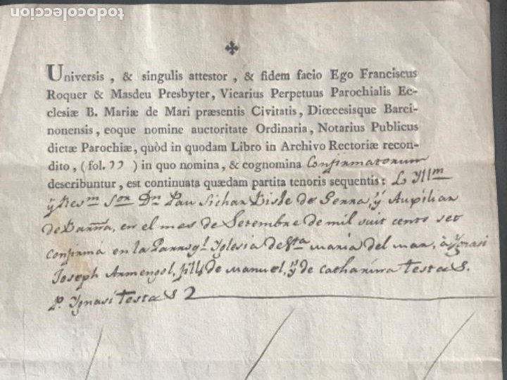 Documentos antiguos: MANUSCRITO DEFUNCIÓN , SANTA MARÍA DEL MAR BARCELONA 1807. FIRMA. - Foto 2 - 197973813