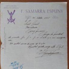Documentos antiguos: CARTA ARTICULOS DE PESCA F. SAMARRA ESPUNY VINAROZ-TORTOSA 1935. Lote 197984102